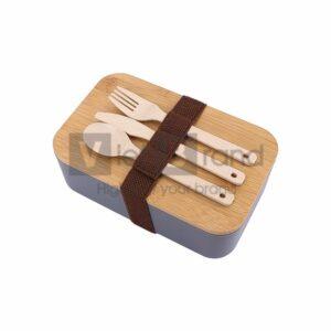 Hộp cơm nhựa nắp gỗ | Quà tặng gia dụng in logo thương hiệu