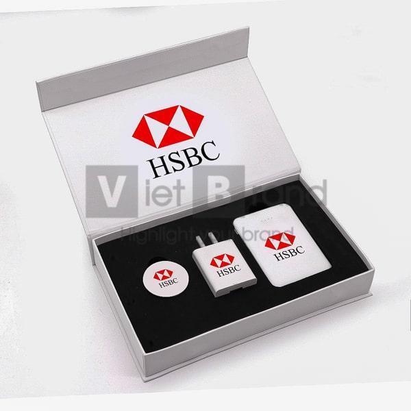 Gift set công nghệ 3 món Pin sạc, Đế sạc không dây, Củ sạc