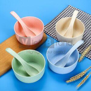 Set bát thìa nhựa lúa mạch | Quà tặng gia dụng thân thiện môi trường