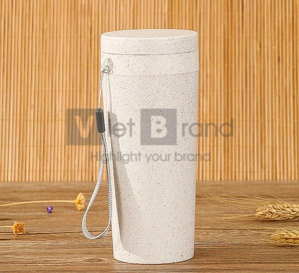 Cốc nhựa lúa mạch có nắp | Quà tặng thân thiện môi trường